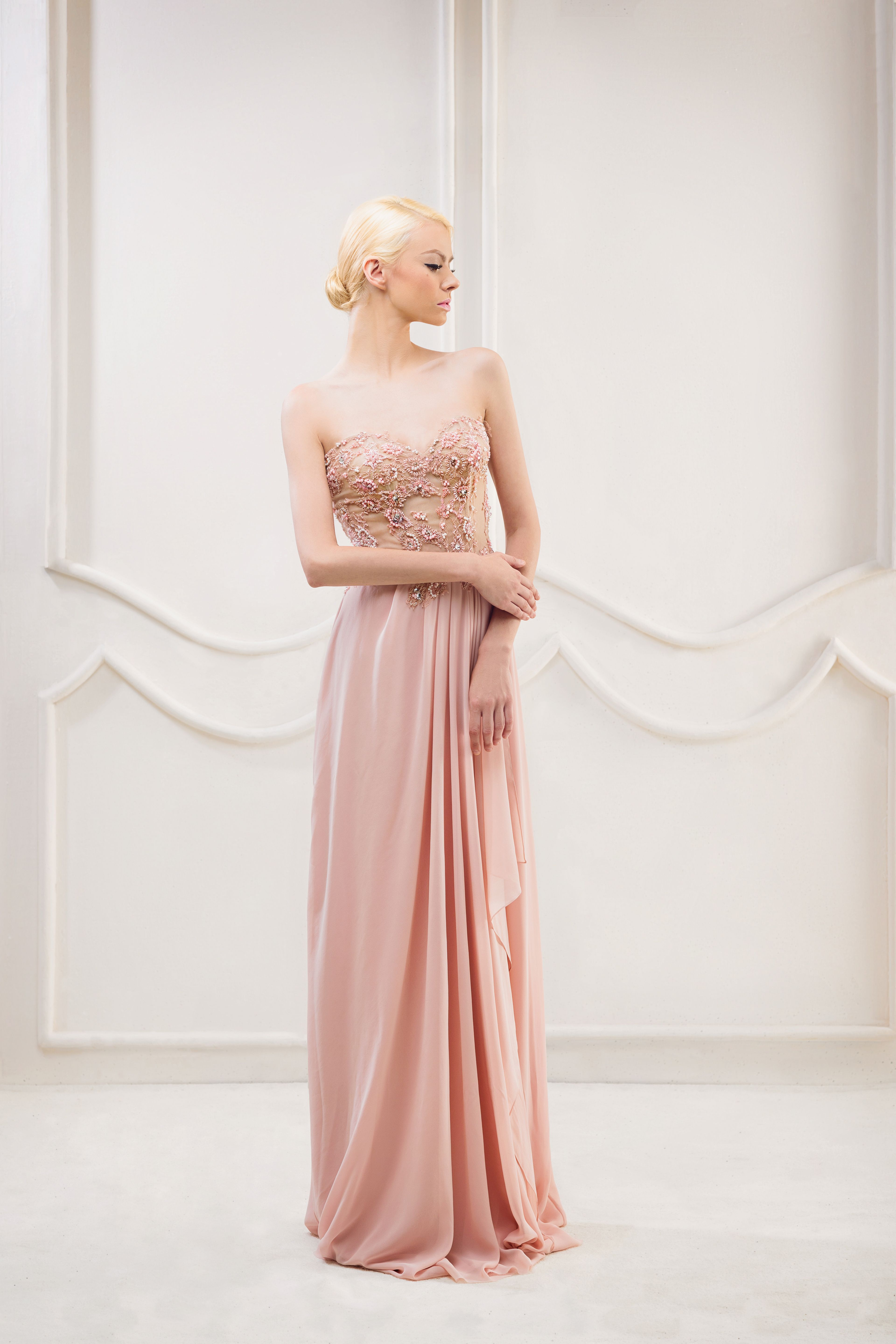 Lovely Elegant Rustic Pink Evening Gown