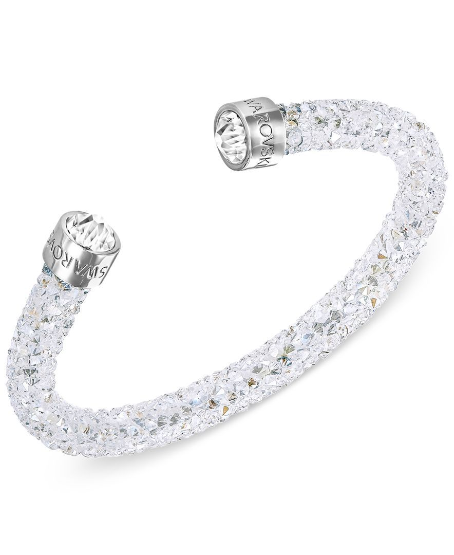 White 14K Swarovski Elements Crystal Diamante Bangle Bracelet Tone Gift Boxed