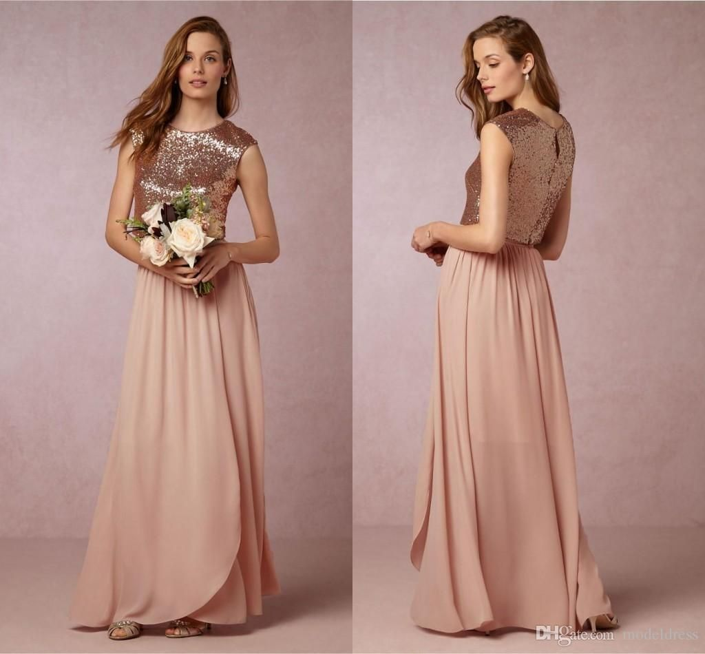 2016 newtwo pieces blush pink bridesmaid dresses rose gold sequins 2016 newtwo pieces blush pink bridesmaid dresses rose gold sequins top long country beach honor of maid wedding party guest gowns cheap ombrellifo Choice Image