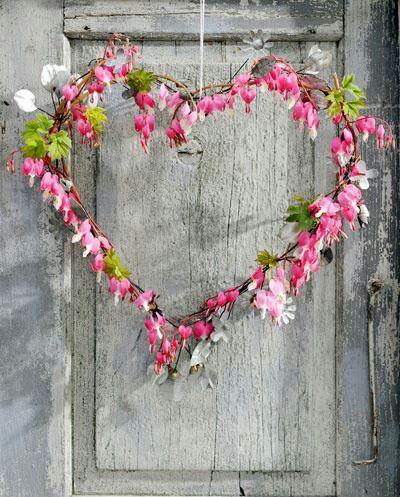 Heart shaped wreath made out of bleeding heart #flowers #love