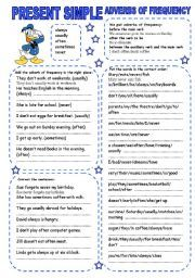 English worksheet: PRESENT SIMPLE (3) ADVERBS OF FREQUENCY ...