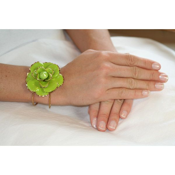 Dara's Chunky Green Flower Cuff Bangle - Final Sale - Only $17.45 — Fantasy Jewelry Box