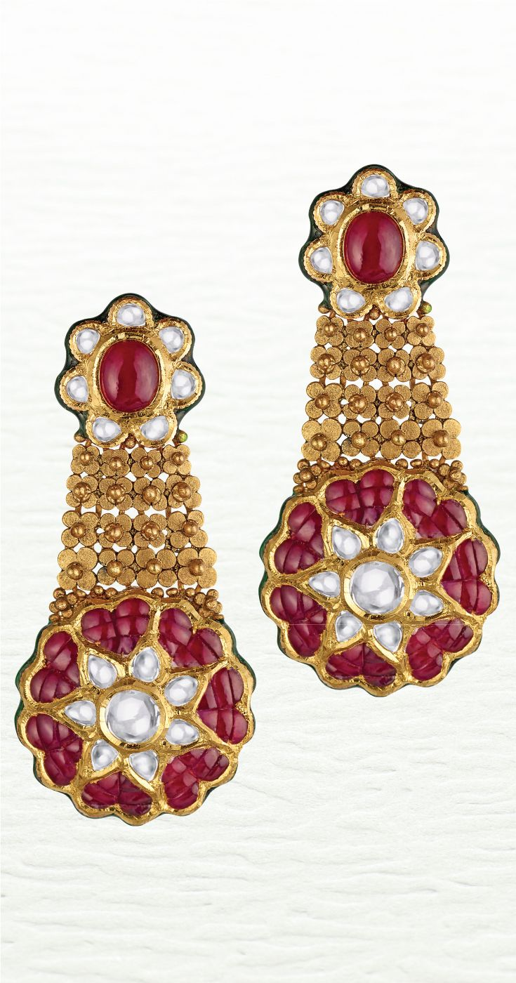 Azva contemporary bridal gold earring in vibrant reds and dainty ...