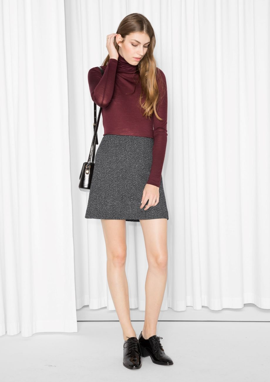 & Other Stories image 2 of A-Line Mini Skirt in Dark Grey