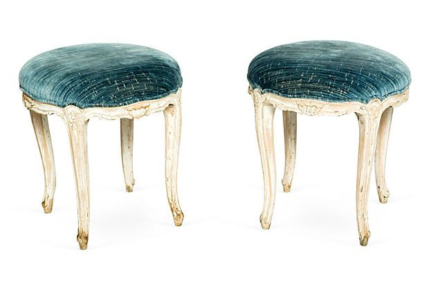 Gustavian Stools, Pair.  Antique Gustavian stools upholstered in Scalamandré silk velvet fabric.