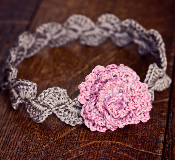 Crochet PATTERN - Centifolia Rose Headband (sizes - baby to adult ...