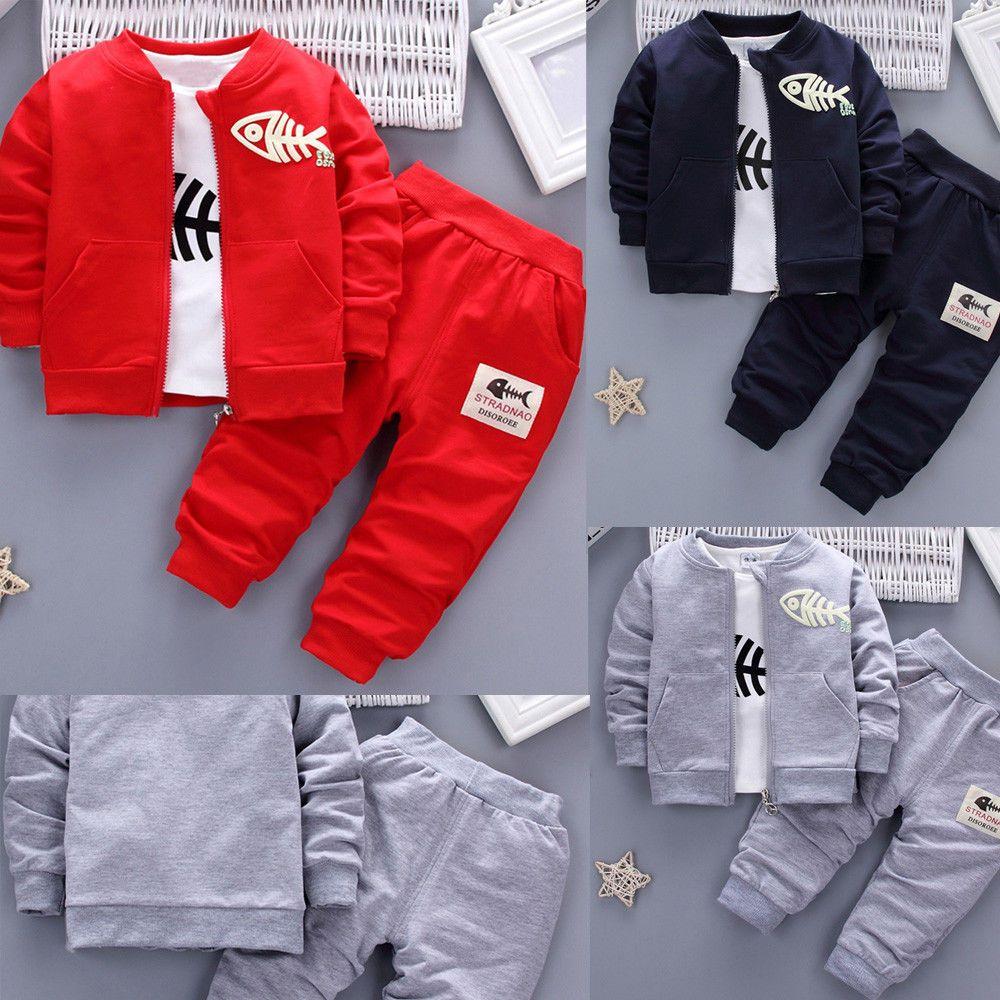 3PCS Kids Toddler Baby Boy Clothes Outfits Fish Tops T-shirt+Long Pants+Zip Coat