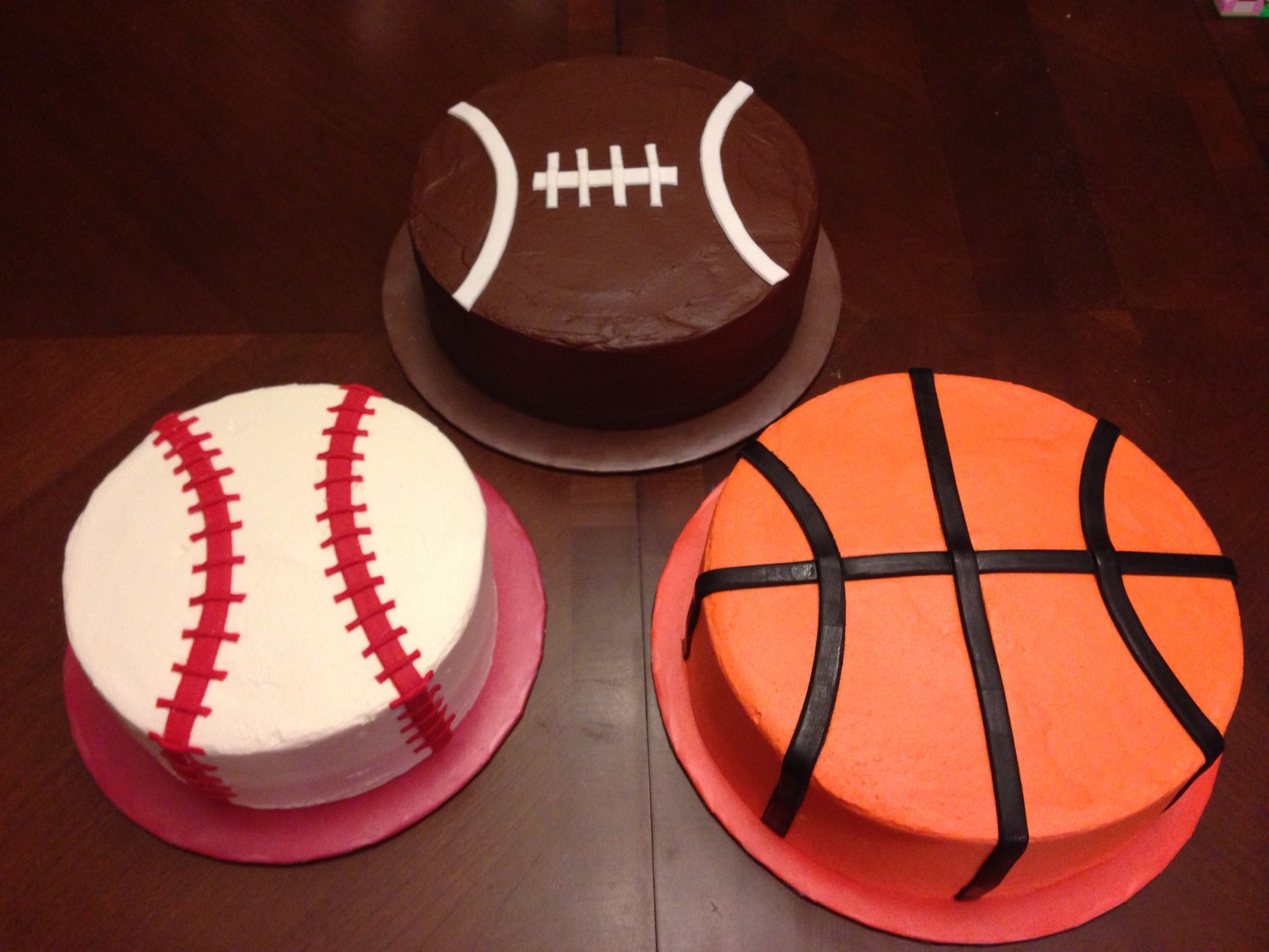 Baseball Football Basketball Cakes With Images Basketball Cake Sports Themed Cakes Boy Birthday Cake