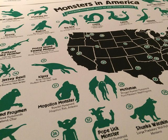 Monsters in America Map | DudeIWantThat.| Dude! I Want That