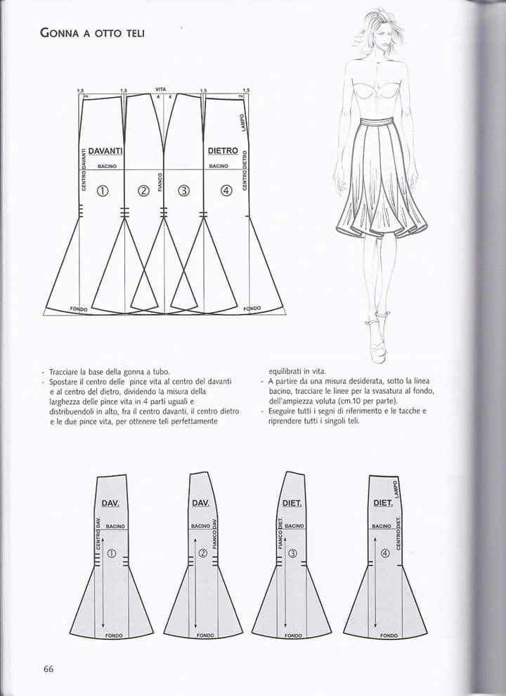 Pin de edith castellon en costureando | Pinterest | Falda, Molde y ...