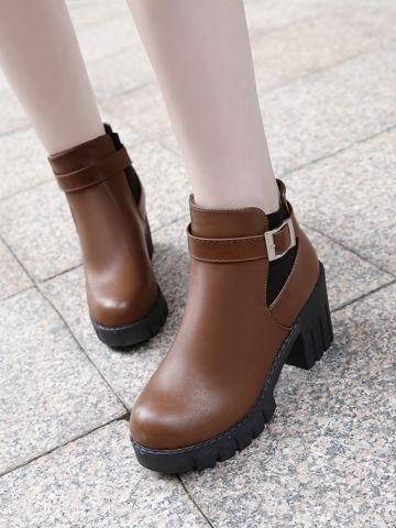 d5def09dd إشتري حذاء نسائي - بكعب عريض وتصميم عملي مريح & جزم للنساء - في Jollychic  الدفع
