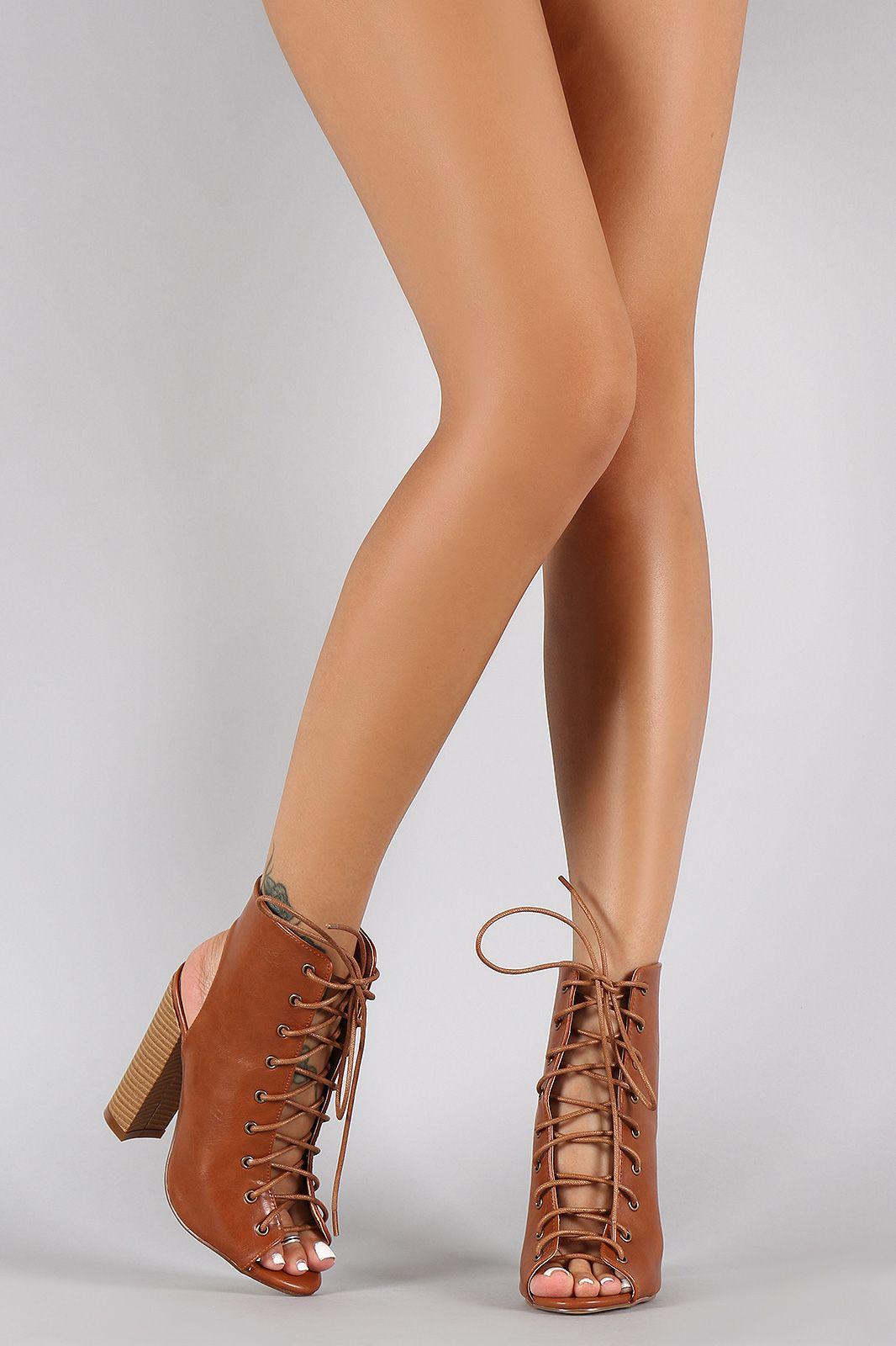 acc5fc4c81 Liliana Corset Lace Up Peep Toe Mule Chunky Heel | FALL/WINTER SHOES ...