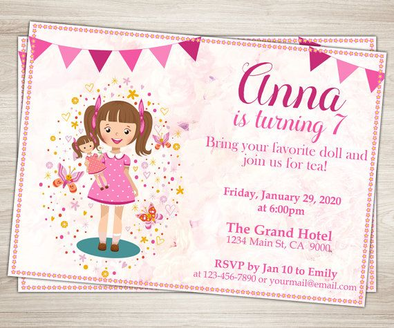 Baby Doll Party Invitation Doll Girl 7th Birthday Invitation Etsy Girl Birthday Party Invitations Birthday Invitations Birthday Party Invitations