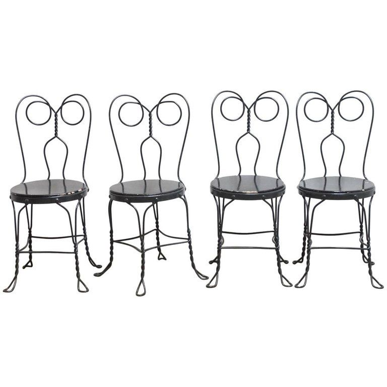 Set Of Four Metal Bistro Or Ice Cream Parlor Chairs images