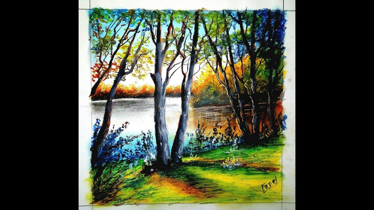 Easy Lake Drawings For Beginners Easy Forest Drawings Drawing With O Watercolor Landscape Paintings Oil Pastel Art Oil Pastel Drawings Easy