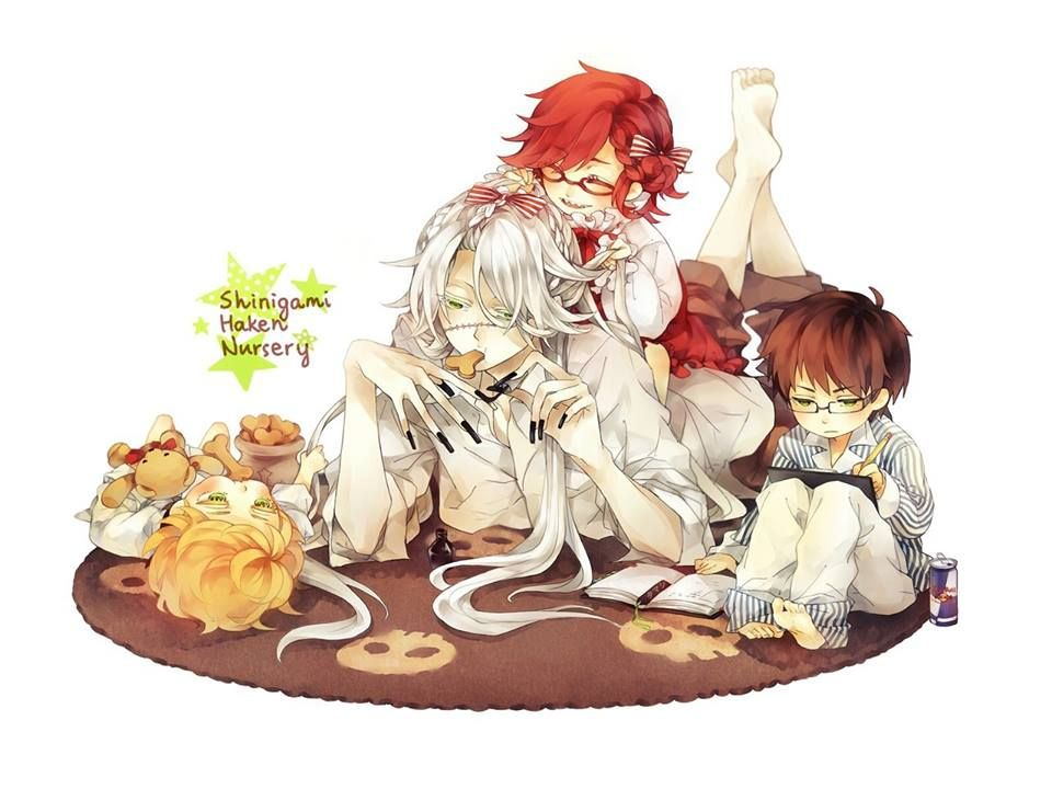 Black Butler Dad Undertaker Sama With Baby William Grell And Ronald Aka The Chibi Gami Kids