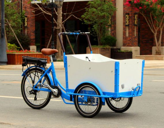 CargoBike,This cargo bike is extremely popular in Europe urban,cargo bike is a good replacement of scooter or a small car.  For a Family, it,s can be used to take kids to school, up to four kids can sit in the front box, enjoying the ride and communicate with you!