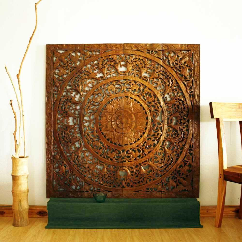 Reclaimed teak wood natural wax inch d lotus panel handmade in