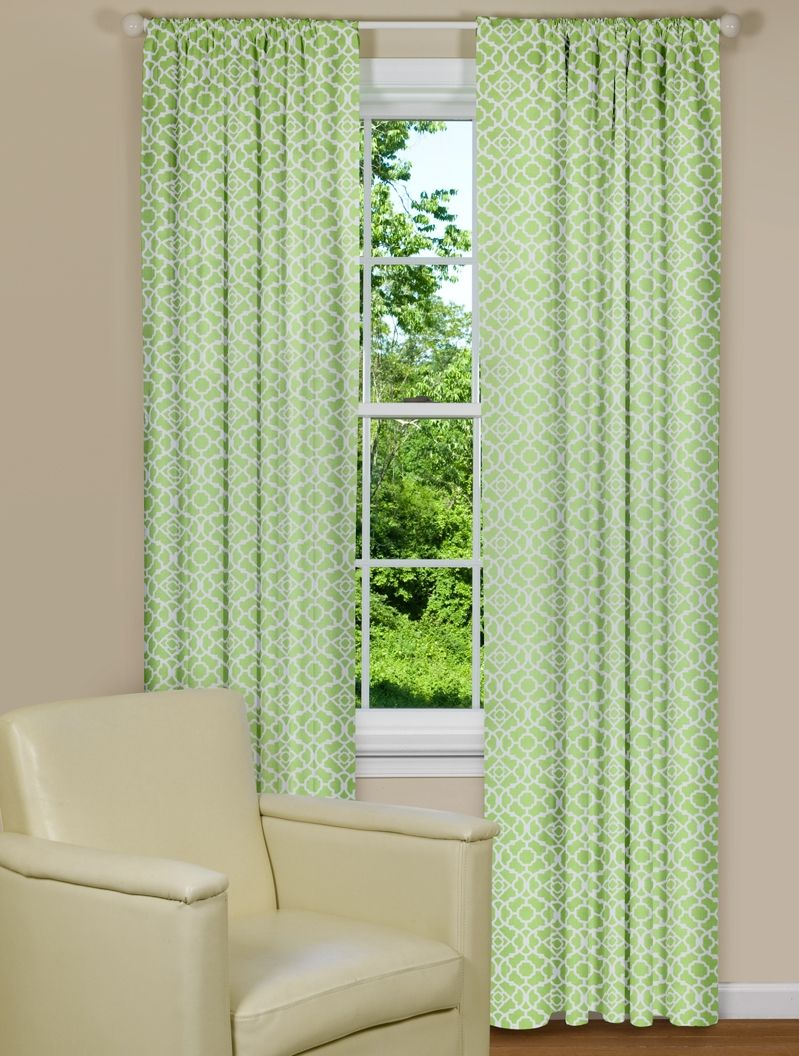 Modern Curtains With Green And White Lattice Design