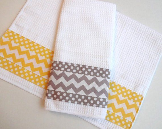 Best Set Of 2 Towels Kitchen Towels Grey And Yellow Yellow 400 x 300