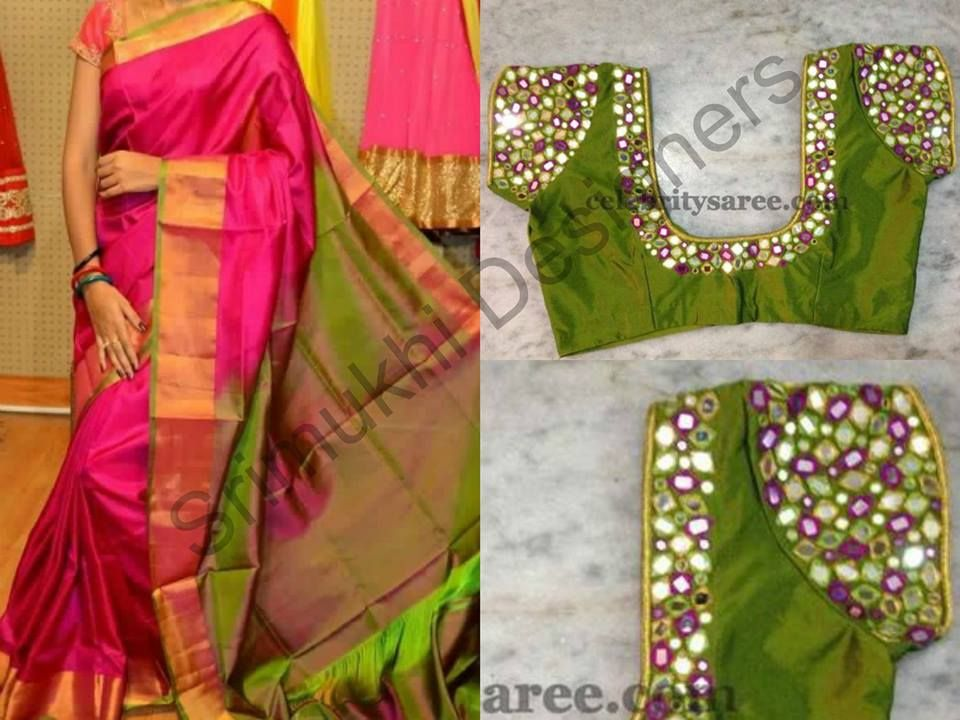 Saree and mirror work blouses sarees pinterest for Mirror work saree