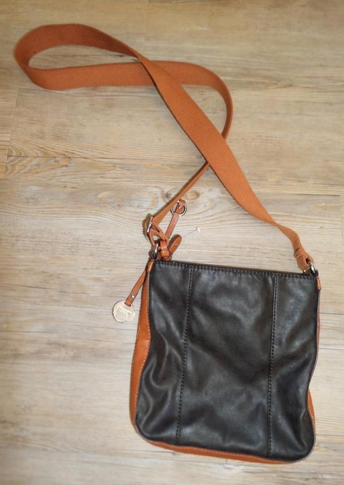 03c05118895a ESPRIT CROSSBODY slouchy satchel BAG brown LEATHER LOOK HANDBAG shoulder  sidebag
