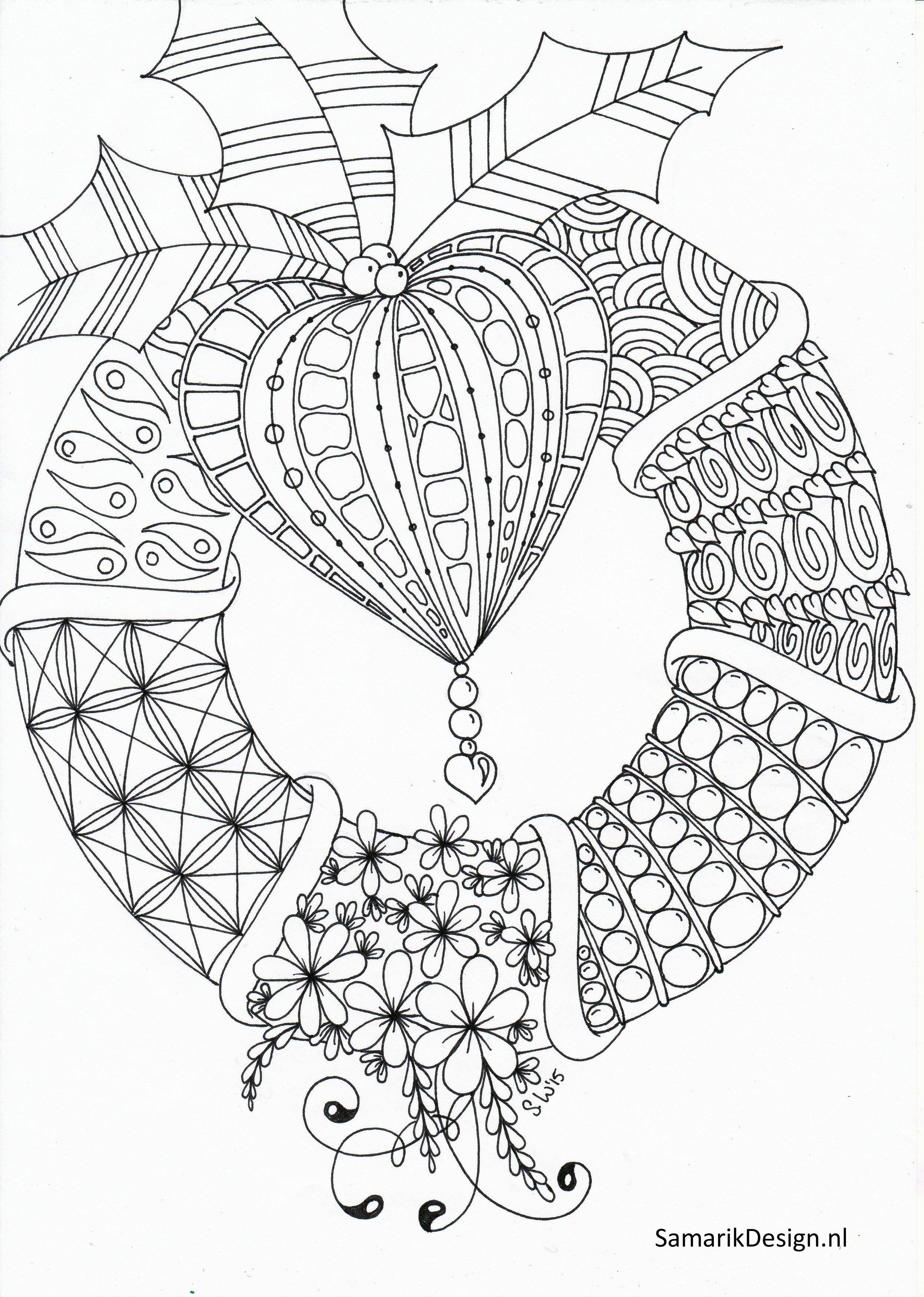 Awesome Christmas Wreath Coloring Pages For Adults Cool