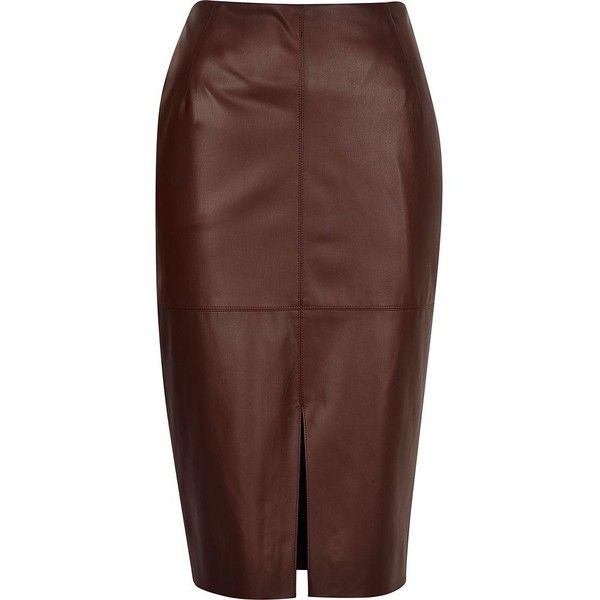 info for price reduced good quality River Island Brown leather-look split front skirt | Leather look ...