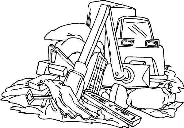 Bulldozer Cleaning Waste Coloring Page : Coloring Sun