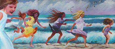 "Saatchi Art Artist Geoffrey Greene; Painting, ""GIRLS ON zuma BEACH"" #art"