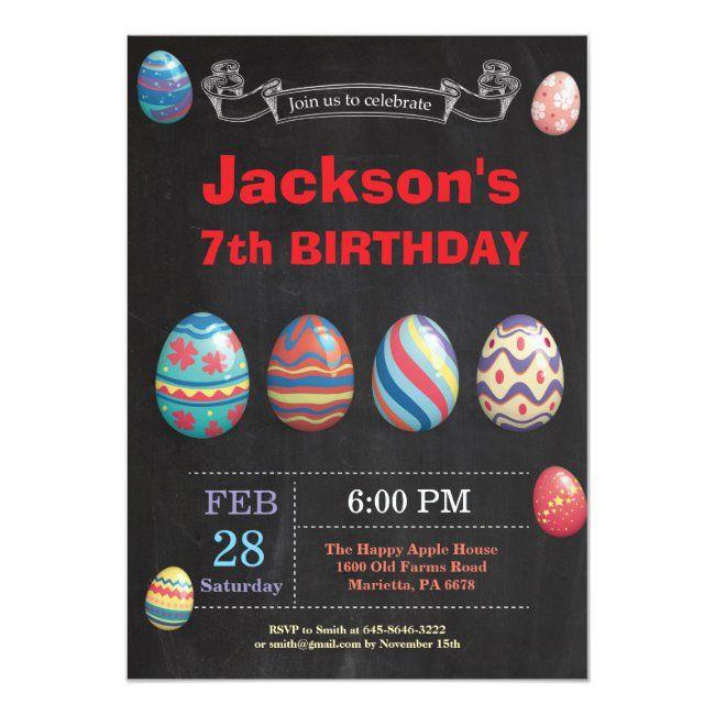 Easter birthday Boy Easter Egg Birthday Invitation