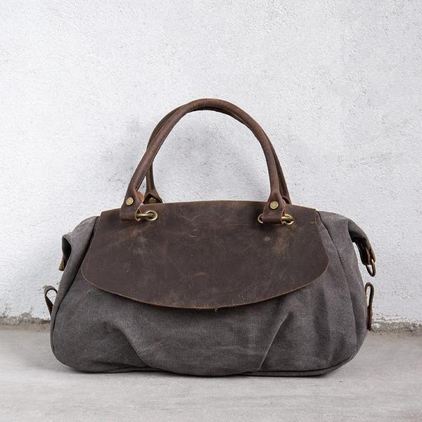 f1dd211acb1b Gray Leather Casual Canvas Women Handbag