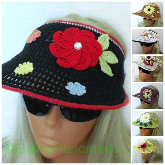 04f27b66466 Crochet Sun Visor Summer Headband Black With Red by GalinaHandmade ...