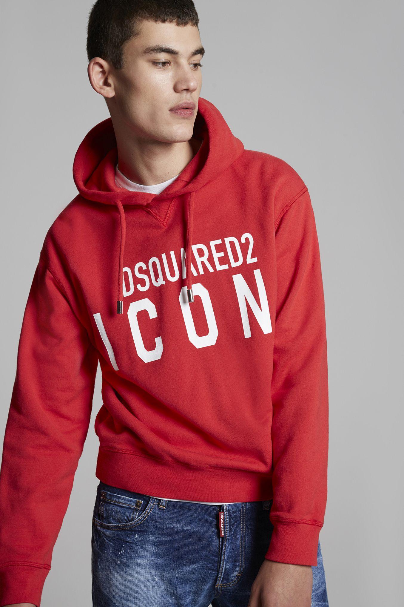 Dsquared2 Icon Hooded Sweatshirt Red Sweatshirts For Men Official Store Hooded Sweatshirts Sweatshirts Hoodies Shop [ 2032 x 1354 Pixel ]