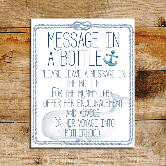 Nautical Baby Shower Message in a Bottle Sign by cardsbycaldwell - baby shower message