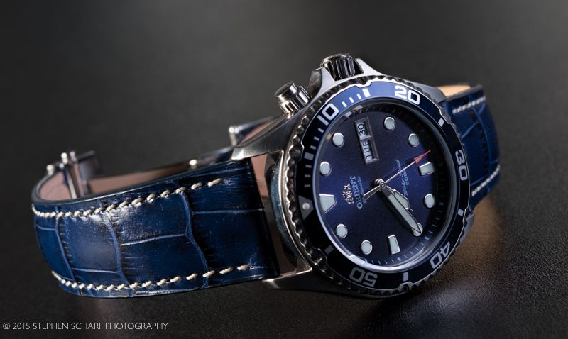 Orient Blue Ray On Blue Leather Strap Skx Leather Or Other Straps