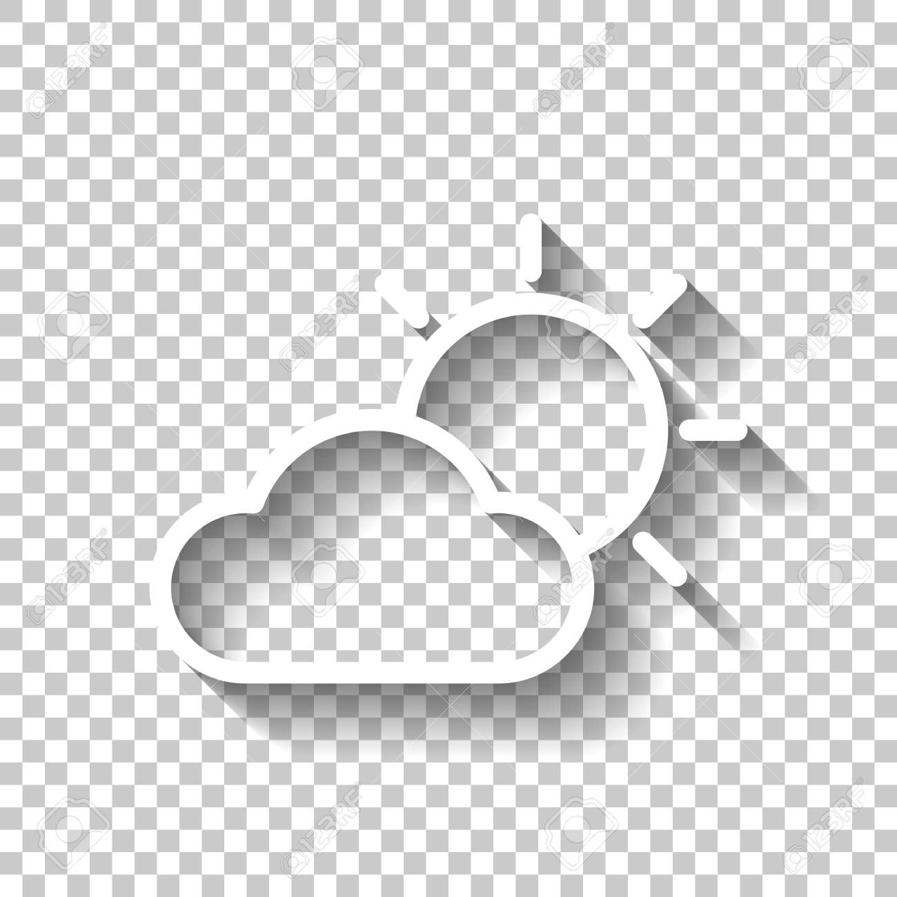 Sun And Cloud Weather Symbol Linear Icon With Thin Outline White Icon With Shadow On Transparent Background Sponsored Ad Symbol Linear Icon Sun V 2020 G
