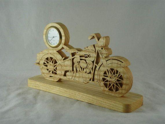 Vintage Style Motorcycle Mini Desk Clock Handmade by KevsKrafts