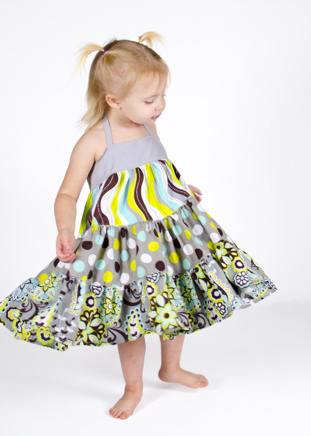 Ellie Tiered Twirly Dress Sewing Pattern - Girl\'s 6m to 8 and Doll ...