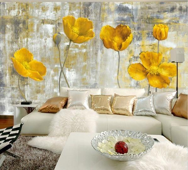 European Style Yellow Flowers Abstract Mural Wallpaper   Pinterest ...