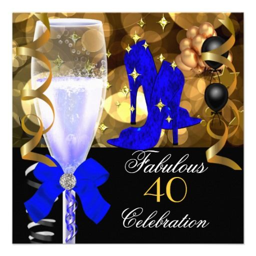 40 Fabulous Royal Blue Black Gold Birthday Party Invitation