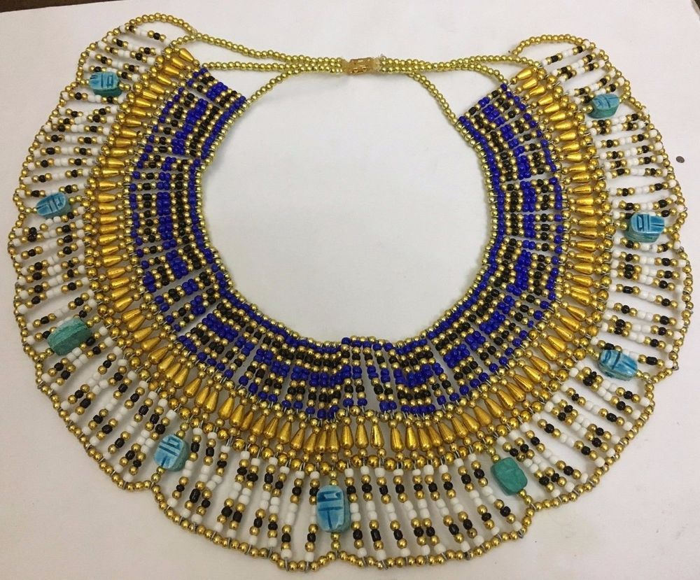 CLEOPATRA NECKLACE COLLAR EGYPTIAN Vintage Beaded Costume Halloween Queen Style & CLEOPATRA NECKLACE COLLAR EGYPTIAN Vintage Beaded Costume Halloween ...