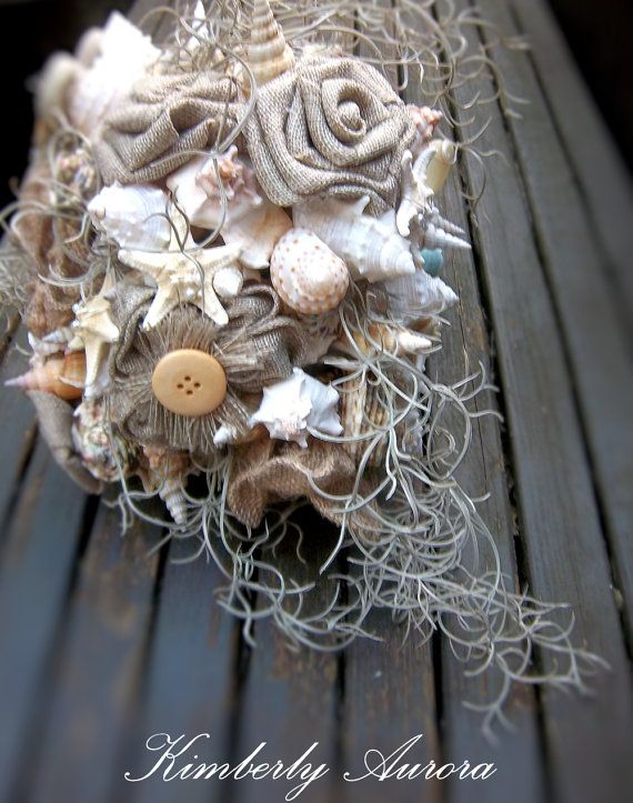 Beach Wedding Burlap and Shell Bouquet for by romanticflowers