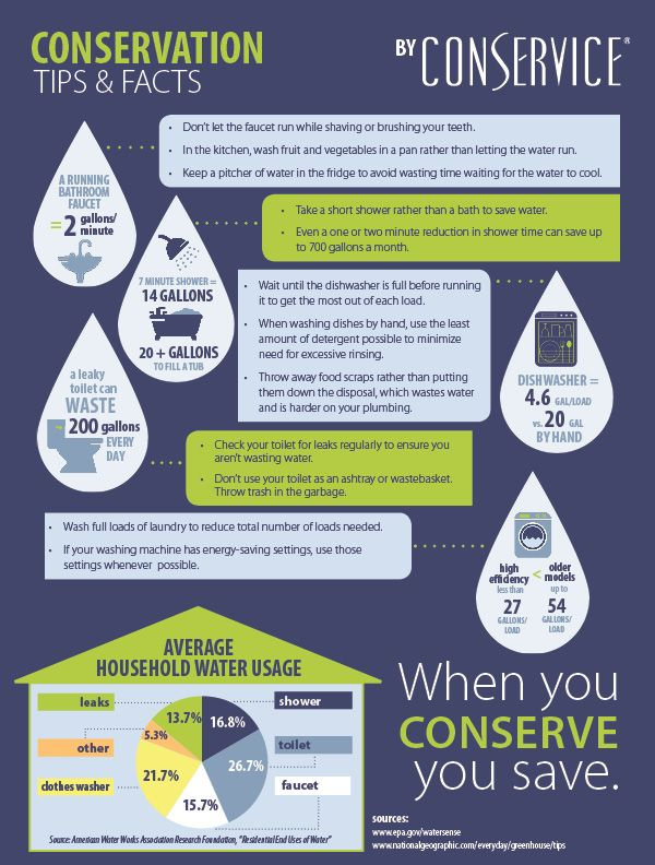 Conservice Infographic Conservation Tips Facts Water