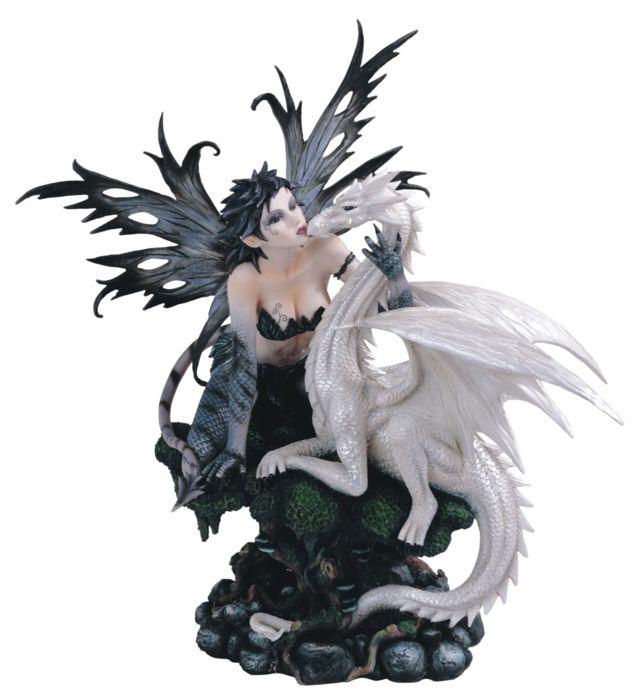 Dragon Decor Black Fairy With White Figurine Statue Décor Ebay