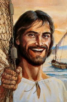 Jesus by the sea.  Such a sweet picture of Jesus smiling.