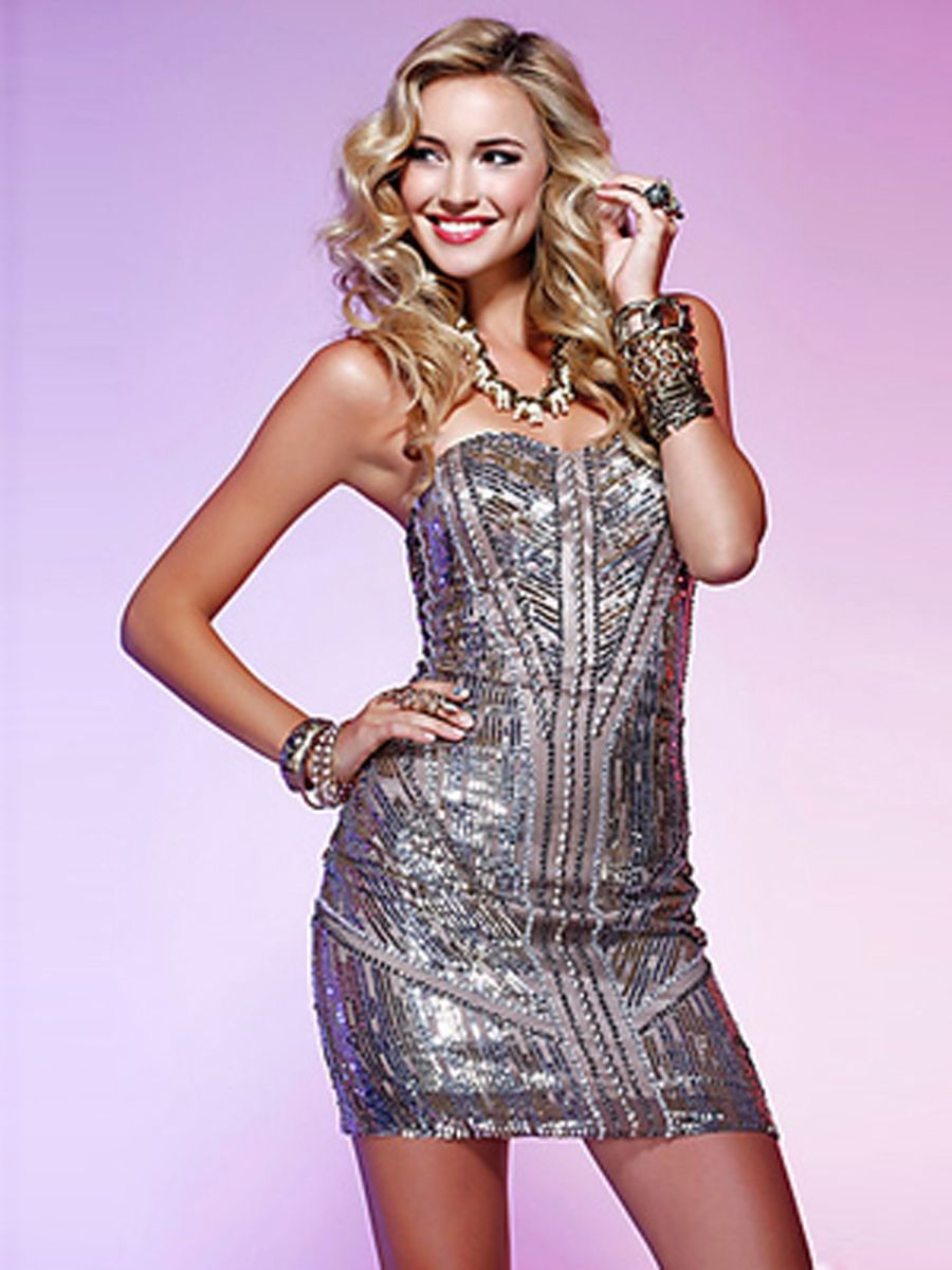 Strapless short sheath silver sequined backless cocktail party dress