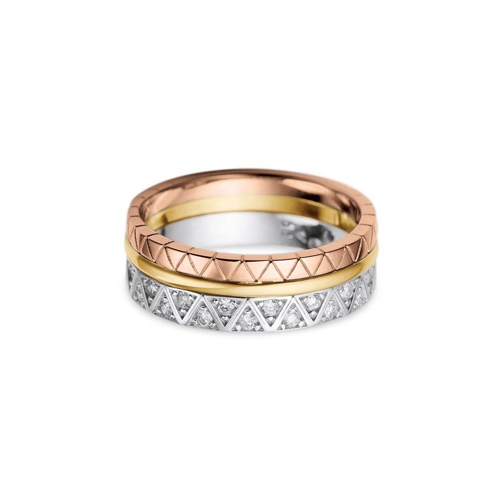 058b07c24ae Anel Ouro Amarelo Branco Rosé e Diamantes - Colecao Icona