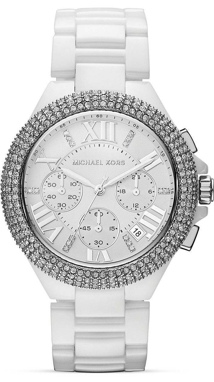 4c9f280b3 Michael Kors #MK5843 Camille Chrono White Ceramic Band Crystal Women Watch  NEW