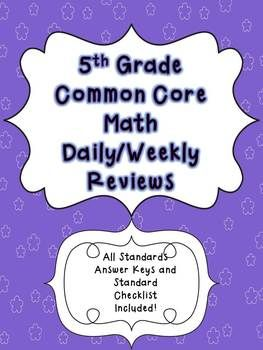 5th grade math test prep review common core math review common 40 weeks of common core weekly reviewswer keys included fandeluxe Choice Image